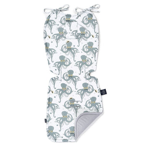 THICK STROLLER PAD - Sea Beauties | Velvet Dark Grey