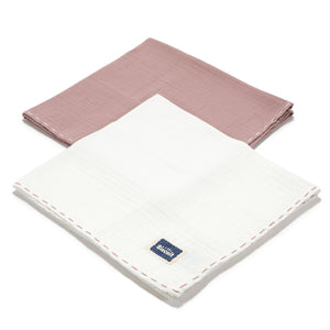 MUSLIN SWADDLE (2-PACK) 100% puuvillaharsot - FRENCH LAVENDER & OFF WHITE