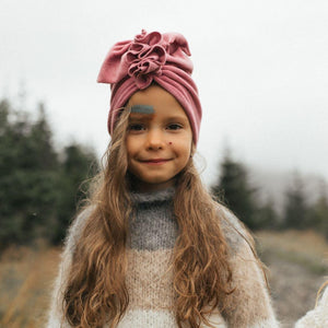 TURBAND HAT - Velvat Dusty Pink