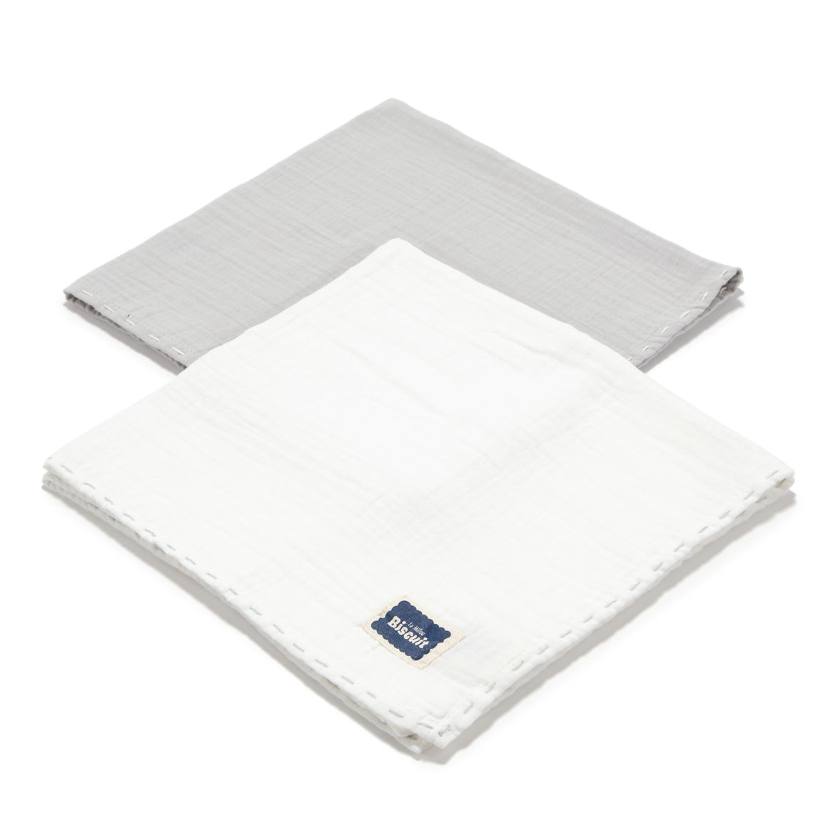 MUSLIN SWADDLE (2-PACK) 100% puuvillaharsot - STONE & OFF WHITE