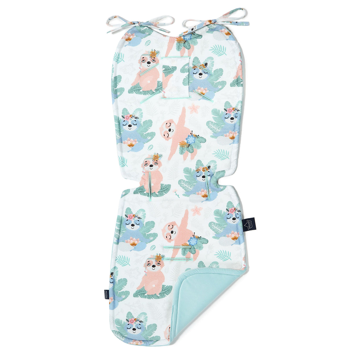 THICK STROLLER PAD - Yoga Candy Sloths | Velvet Audrey Mint