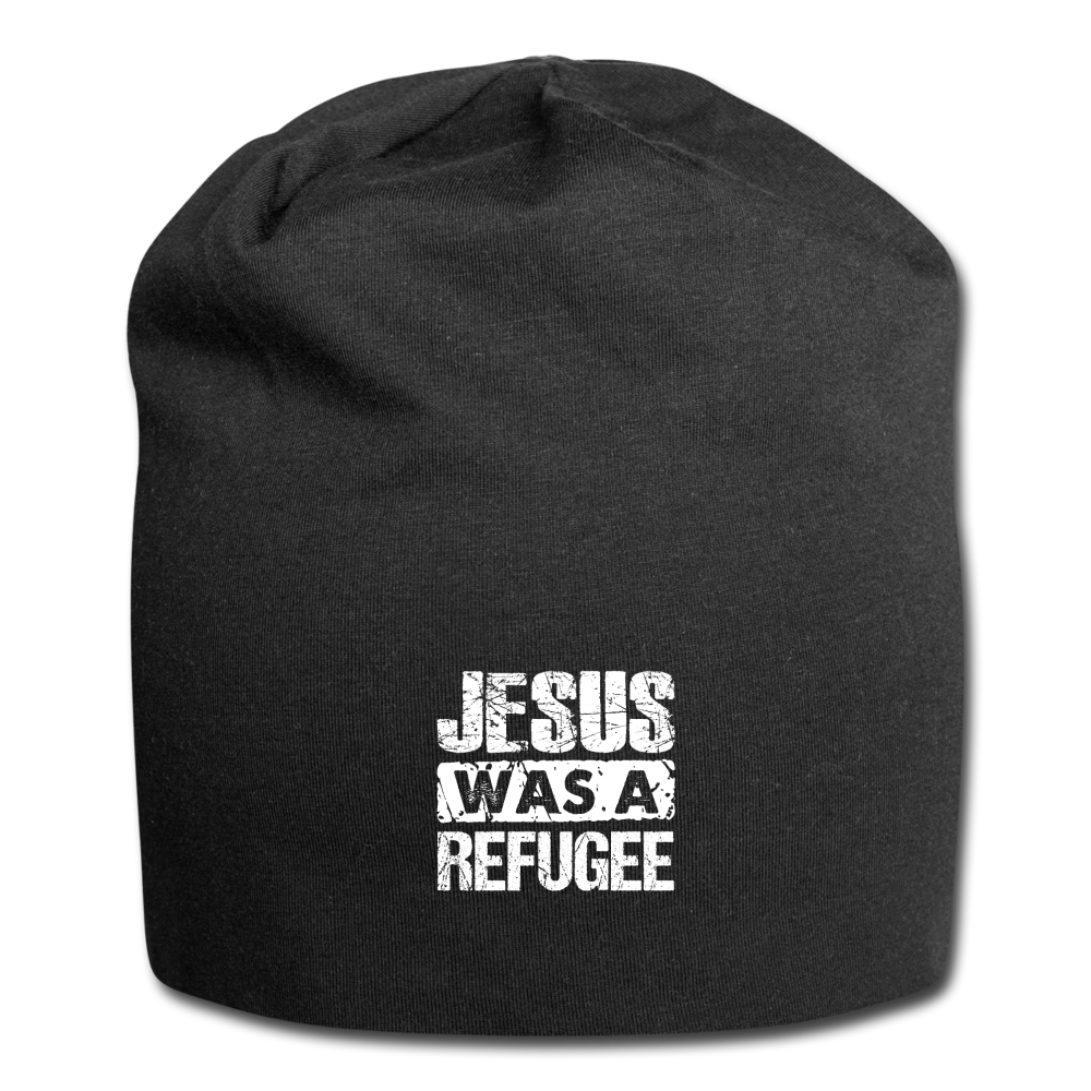 Jesus was Refugee Jersey Beanie - black