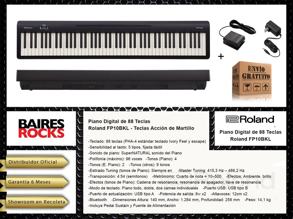 Piano Digital de 88 Teclas con Accion de Martillo Roland FP10BKL