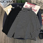 Women T-shirt Turtleneck Striped Full Sleeve Stretch Tops