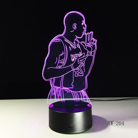Star Kobe Bryant 3D Night Light Magic Projector LED Lamp Colorful Flashing Projector