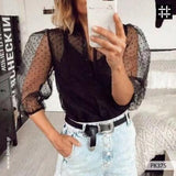 Women Mesh Sheer Blouse See-through Long Sleeve Top