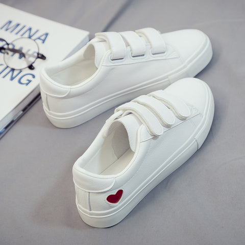 Woman Leather Heart Women Casual White Shoes Sneakers