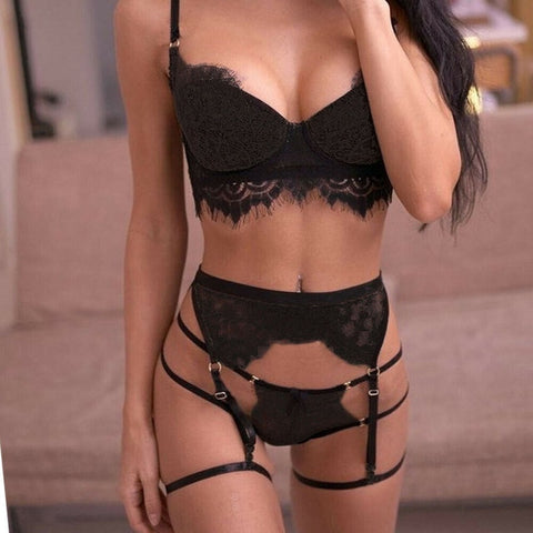 3PC Set Women Sexy Lingerie Lace Babydoll