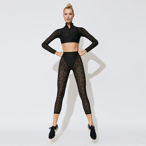Leopard lace Long Sleeve Fitness Sport Suit Women Tracksuit Yoga Set Gym Running Sportswear Leggings Tight Jumpsuits Workout