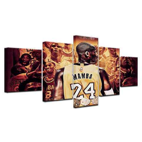 Kobe Bryant Canvas Wall Art Bedroom 5 Pieces Basketball Player Sports Painting