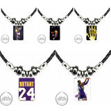 EJ Glaze For Women Hot Selling Kobe Bryant Jersey Black Leather Bead Pendant