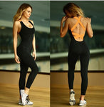 Fitness Sport Suit Women Tracksuit Yoga Set Backless Gym Running Set Sportswear Leggings Tight Jumpsuits Workout Sports Clothing
