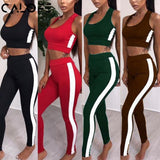 2019 Women's Tracksuit Tights Sportswear Fitness Yoga Suit Sport set For Female Gym Clothing Workout Two Piece Jumpsuit Crop top