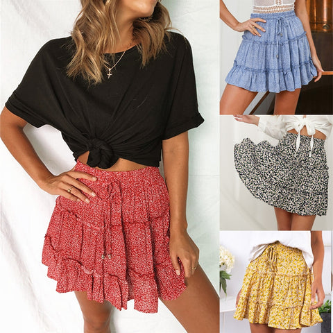 High Waist Frills Skirt