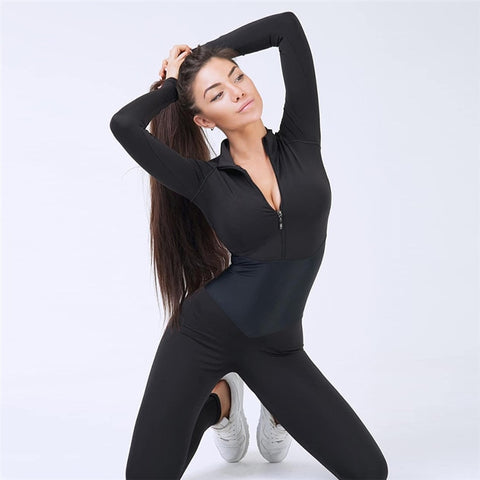 New Women Yoga Set Sportswear Siamese Sports Suit Gym Wear Running Clothing Tracksuit Sexy Ensemble Zipper Jumpsuits Fitness Set