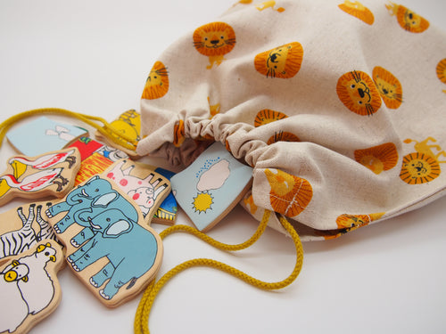 Drawstring Toy Storage Bag: Cheerful Lions (Size 2)