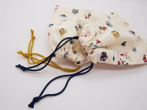 Drawstring Marble Bag: World Traveller