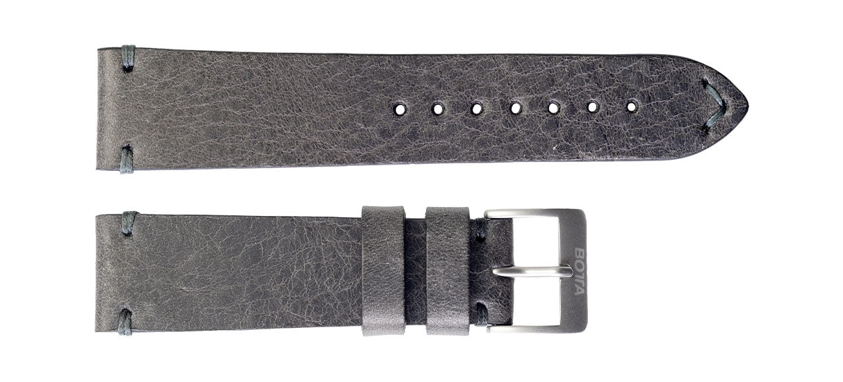 Saddle Leather Strap - Anthracite / 22 mm