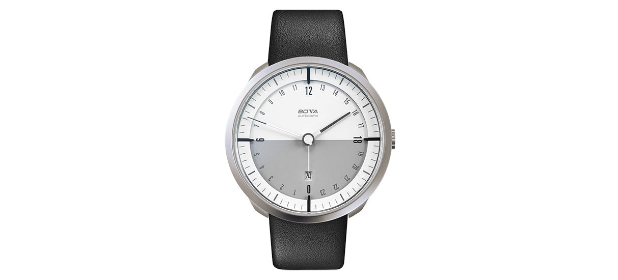 TRES 24 Automatic 45mm - White / Leather strap