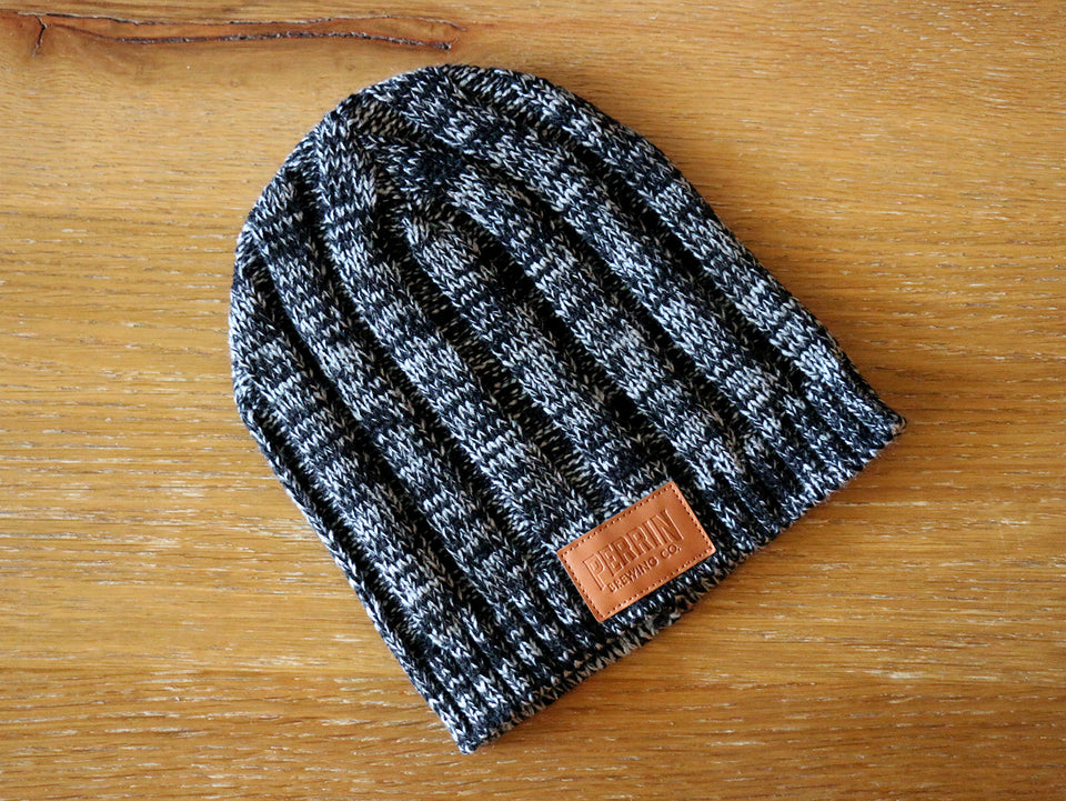 Heather Grey Leather Patch Beanie