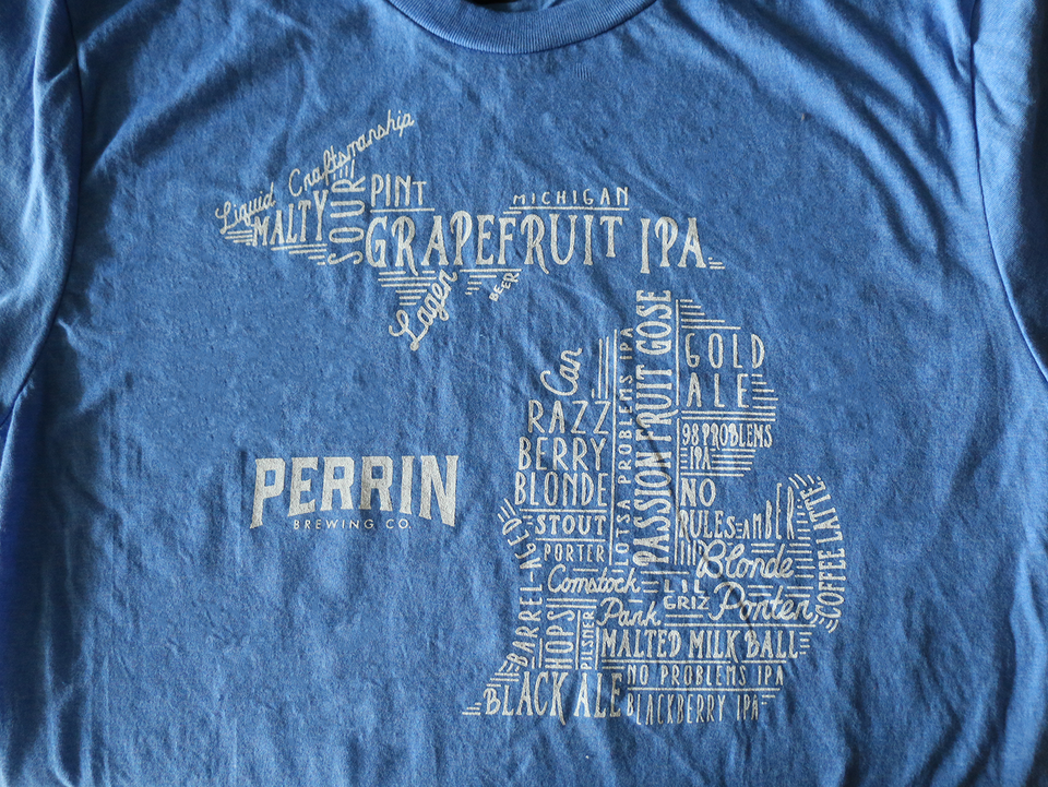 Light Blue Wordplay Michigan Tee