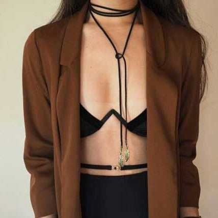 Long Leaves Leather Choker