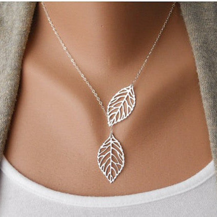 Two Leaves Left Necklace