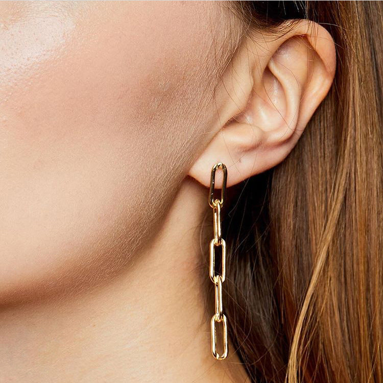 Long Link Chain Earrings