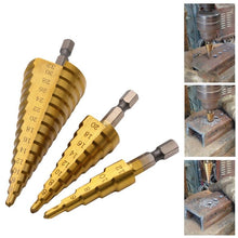 Load image into Gallery viewer, HSS Titanium Coated Step Drill Bit - 3 Piece Set