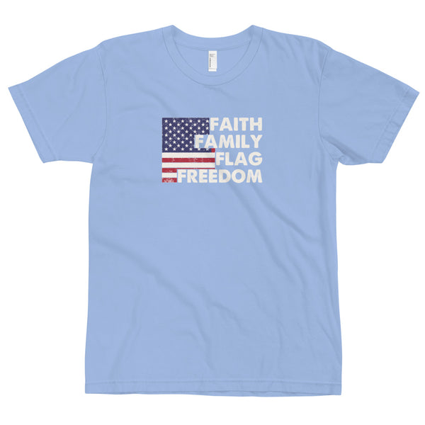 Faith Family Flag Freedom - Made in USA T-Shirt
