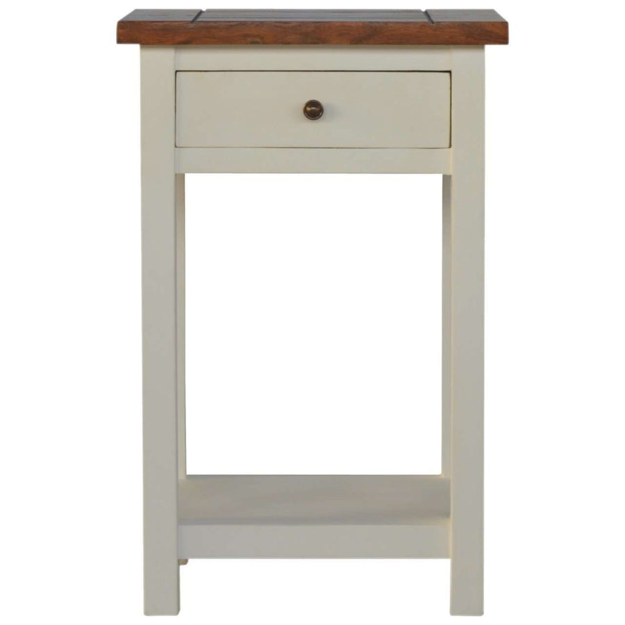 2 Toned Bedside Table with 1 Drawer & 1 Shelf