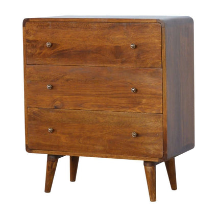 3 Drawer Curved Chest of Drawers