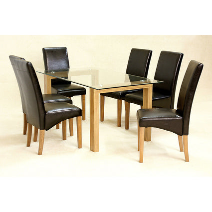 Adina Oak Large Dining Set with 6 Cyprus Chairs