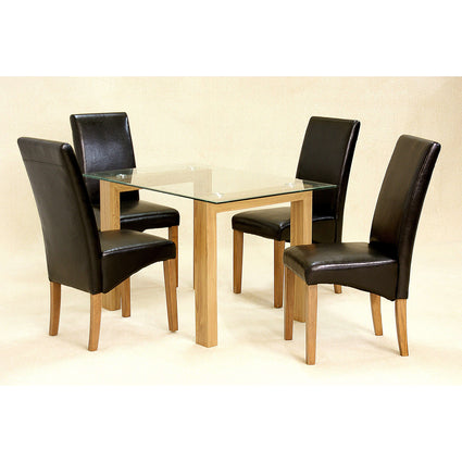 Adina Small Oak Dining Set with 4 Cyprus Chairs