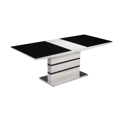 Aldridge High Gloss Dining Table White with Black Glass Top and 4 Chairs