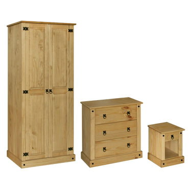 Amazon Trio Wardrobe Chest & Bedside Set