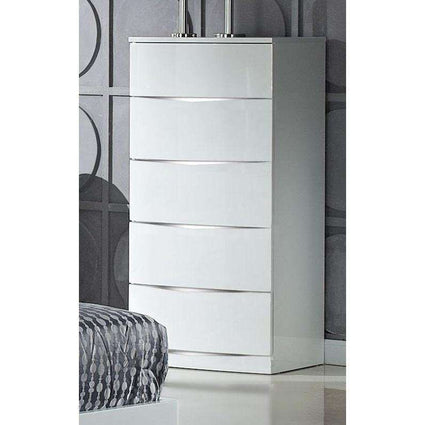 Arden/Widney White High Gloss Chest 5 Drawers