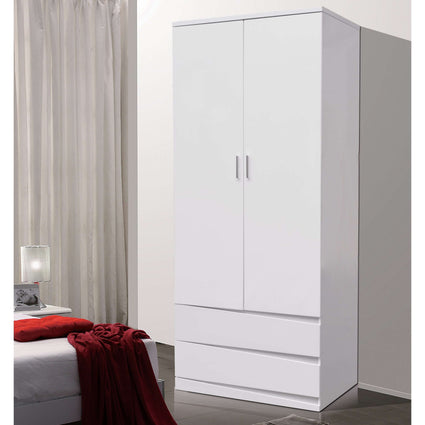 Arden/Widney White High Gloss Wardrobe with 2 Drawers