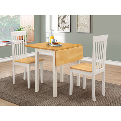 Atlas White Dining Set with 2 Chairs