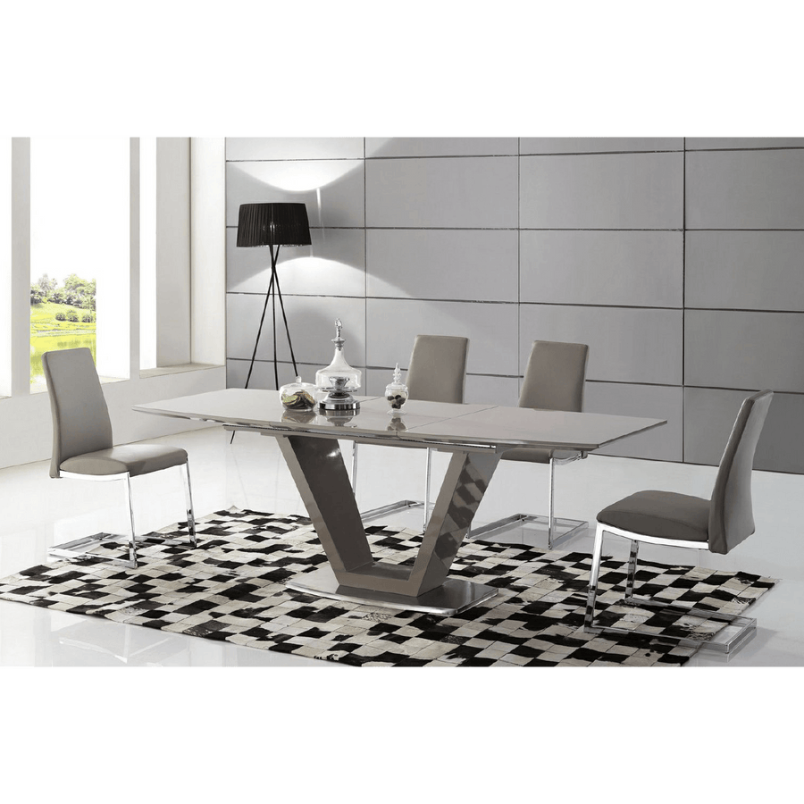 Azore Extending Dining Table High Gloss Cappuccino with 6 Chairs