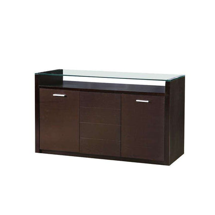 Baltic Glass Top Sideboard with 3 Doors Dark Walnut