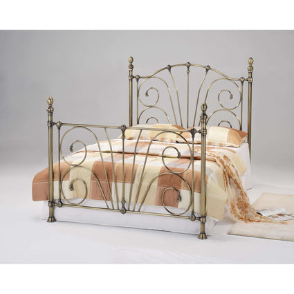 Beatrice Antique Brass Double Bed