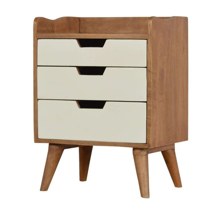 Bedside with 3 White Hand Painted Cut- Out Drawers