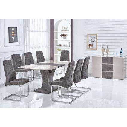 Belarus High Gloss Ext Dining Set with 6 Chairs