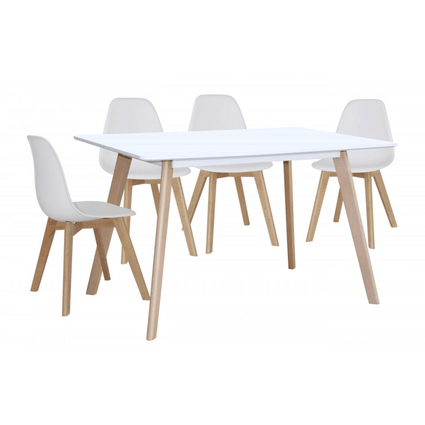 Belgium Large White Dining Table with 4 Belgium Chairs