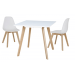 Belgium Small White Dining Table with 2 Belgium Chairs