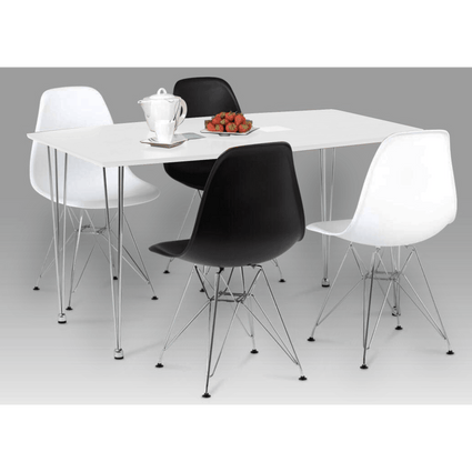 Bianca Dining Set White High Gloss with 4 Chairs
