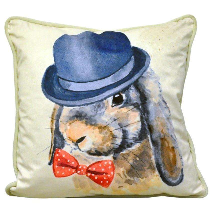 Bow Tie & Bowler Rabbit Cushion 45cm