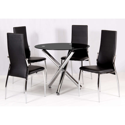 Calder Dining Set Chrome & Black Glass with 4 Chairs