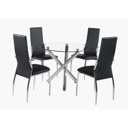 Calder Dining Set Chrome & Clear Glass Top with 4 Chairs
